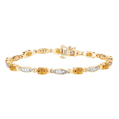 Genuine Yellow Citrine 14K Gold Over Silver 7.5 Inch Tennis Bracelet