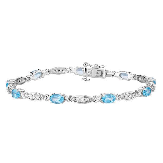 Genuine Blue Topaz Sterling Silver 7.5 Inch Tennis Bracelet