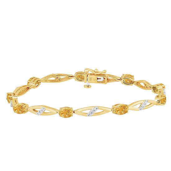 Genuine Yellow Citrine 14k Gold Over Silver 75 Inch Tennis Bracelet