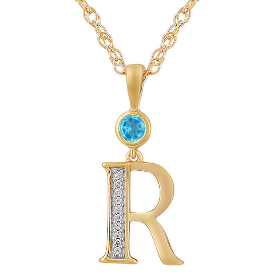 Womens Genuine Blue Topaz 14K Gold Over Silver Pendant Necklace