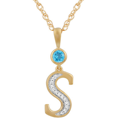 Womens Genuine Blue Topaz 14K Gold Over Silver Pendant Necklace