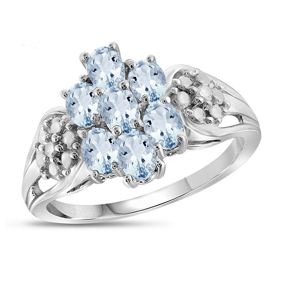 Womens Diamond Accent Genuine Blue Aquamarine Sterling Silver Cluster Cocktail Ring