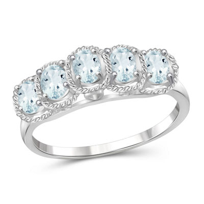 Womens Blue Aquamarine Sterling Silver Side Stone Ring