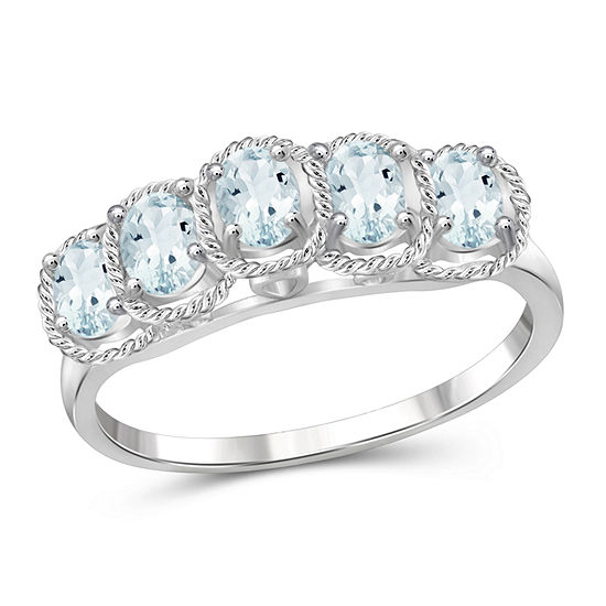 Womens Genuine Blue Aquamarine Sterling Silver Side Stone Cocktail Ring