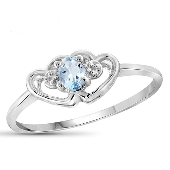 Womens Diamond Accent Genuine Blue Aquamarine Sterling Silver Heart Delicate Cocktail Ring