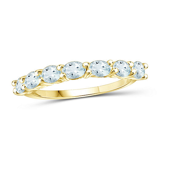 Womens Genuine Blue Aquamarine 14K Gold Over Silver Side Stone Cocktail Ring