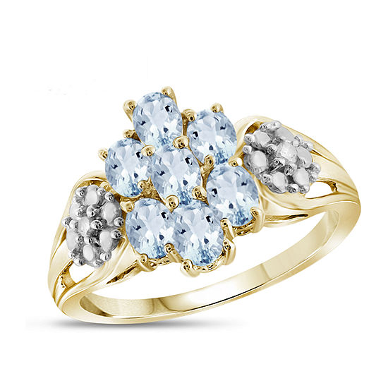 Womens Diamond Accent Genuine Blue Aquamarine 14K Gold Over Silver Cluster Cocktail Ring