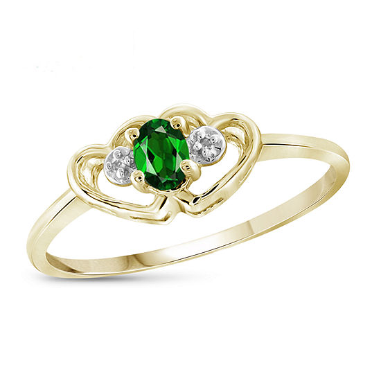 Womens Diamond Accent Genuine Green Chrome Diopside 14K Gold Over Silver Heart Delicate Cocktail Ring