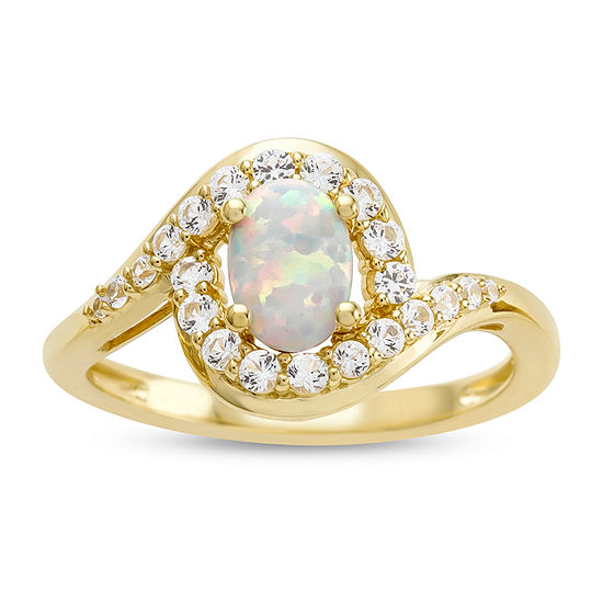 Womens 14K Gold Over Silver Lab-Created Opal & Lab-Created White Sapphire Cocktail Ring