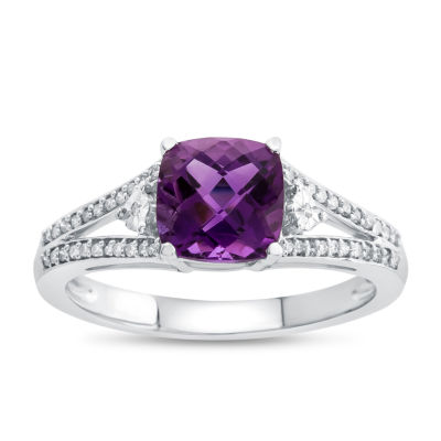 Womens Genuine Amethyst & 1/10 CT. T.W. Diamond 10K Gold Cocktail Ring