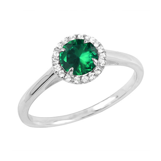 Womens Lab Created Green Emerald Sterling Silver Round Halo Cocktail Ring
