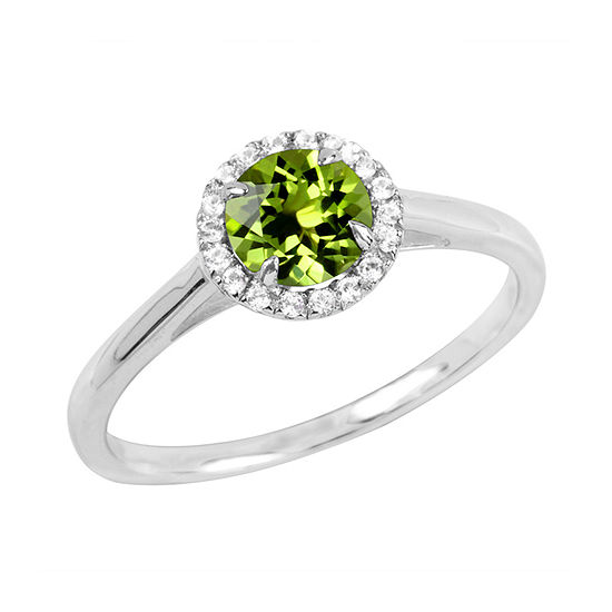 Womens Genuine Green Peridot Sterling Silver Round Halo Cocktail Ring