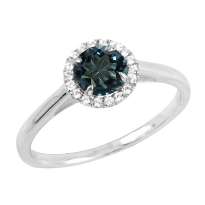 Womens Genuine Blue Topaz Sterling Silver Round Halo Cocktail Ring