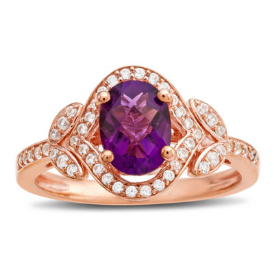 Womens Genuine Purple Amethyst 14K Rose Gold Over Silver Cocktail Ring