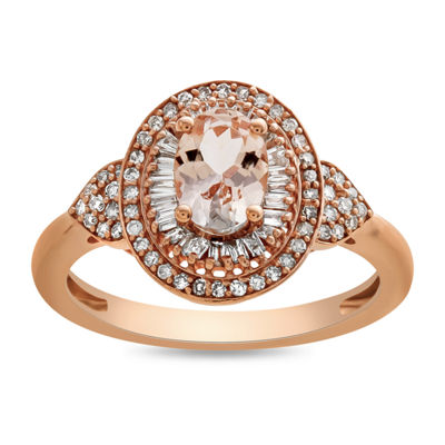 Womens 1/3 CT. T.W. Genuine Pink Morganite 10K Rose Gold Cocktail Ring