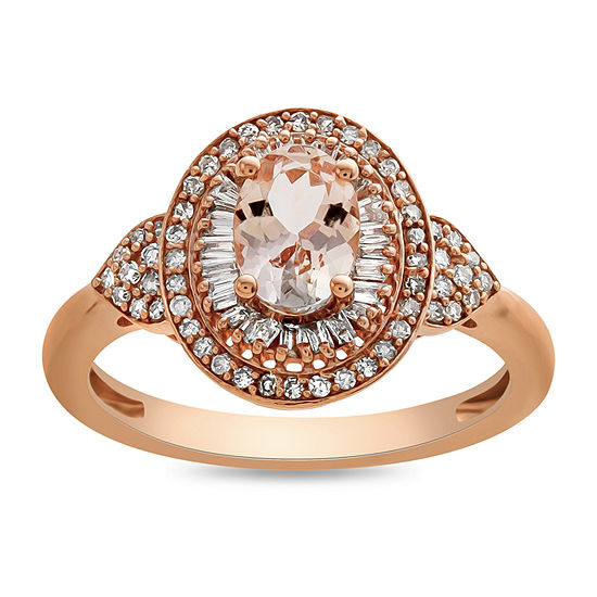 Womens 1 3 Ct Tw Genuine Pink Morganite 10k Rose Gold Cocktail Ring