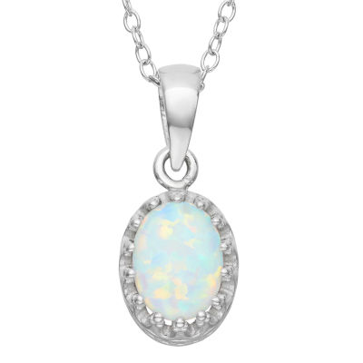 Womens Lab Created White Opal Pendant Necklace