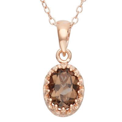 Womens Genuine Brown Quartz 14K Rose Gold Over Silver Pendant Necklace