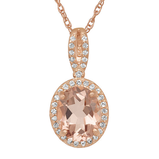 Womens Simulated Pink Morganite 14K Rose Gold Over Silver Pendant Necklace