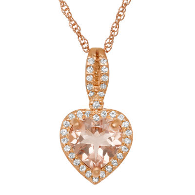 Womens Simulated Pink Morganite 14K Rose Gold Over Silver Heart Pendant Necklace