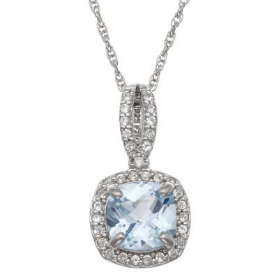 Womens Lab Created Blue Aquamarine Sterling Silver Pendant Necklace
