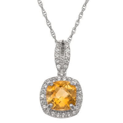 Womens Genuine Orange Citrine Sterling Silver Pendant Necklace