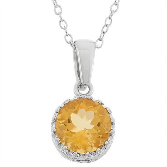 Womens Genuine Orange Citrine Sterling Silver Pendant Necklace