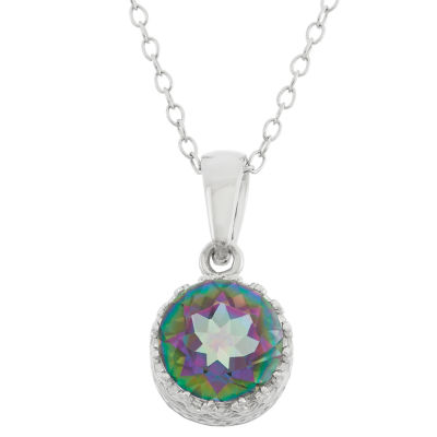 Womens Genuine Green Topaz Sterling Silver Pendant Necklace