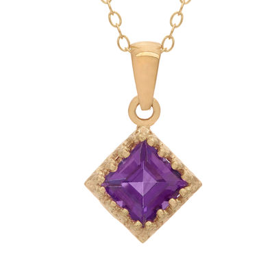 Womens Genuine Purple Amethyst 14K Gold Over Silver Pendant Necklace