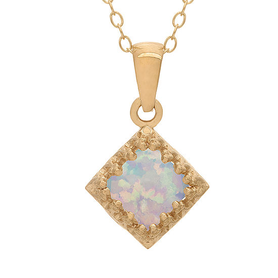 Womens Lab Created White Opal 14k Gold Over Silver Pendant Necklace