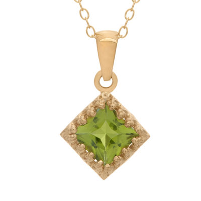 Womens Genuine Green Peridot 14K Gold Over Silver Pendant Necklace