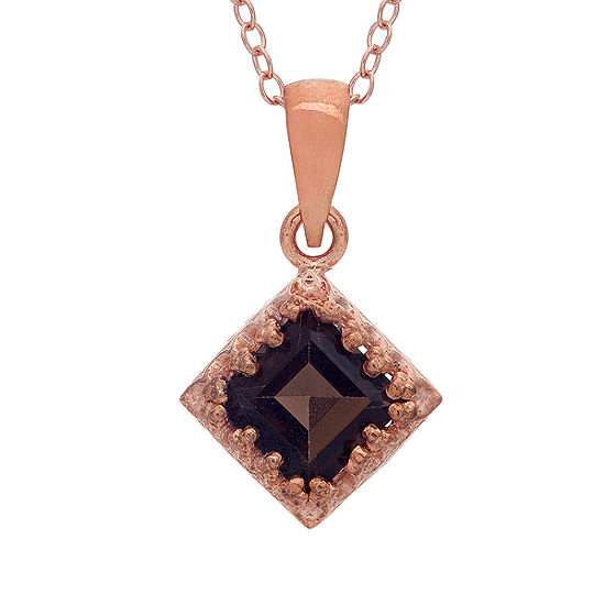 Womens Genuine Brown Quartz 14K Rose Gold Over Silver Pendant Necklace