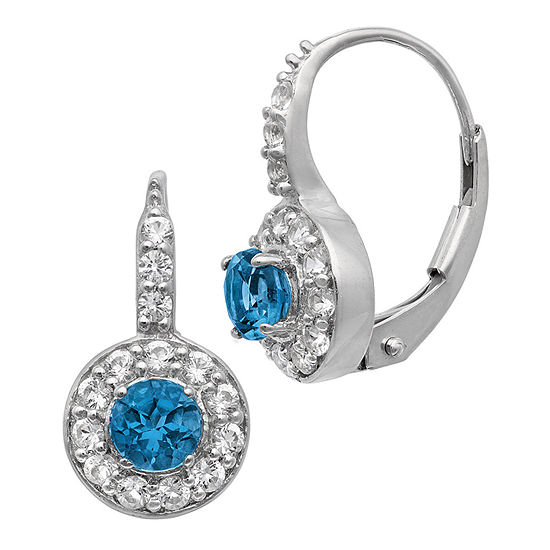 Genuine Blue Topaz Sterling Silver Clip On Earrings