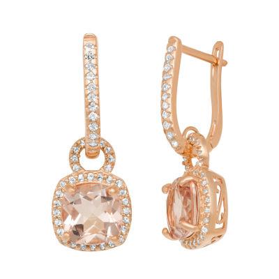 Pink Morganite 14K Rose Gold Over Silver Clip On Earrings
