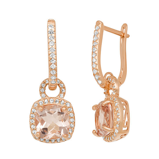 Simulated Pink Morganite 14K Rose Gold Over Silver Clip On Earrings