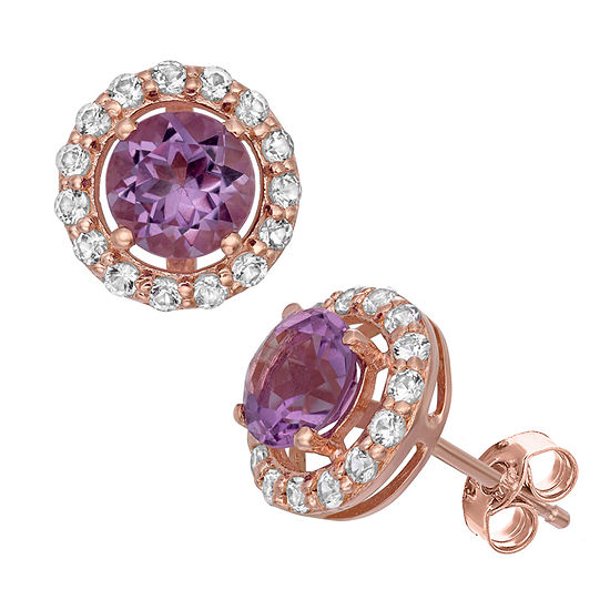 Genuine Purple Amethyst 14K Rose Gold Over Silver Stud Earrings