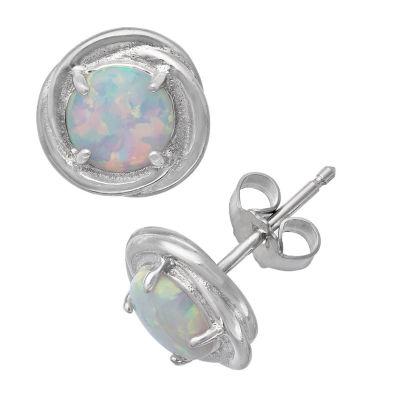 White Opal Sterling Silver 9.5mm Stud Earrings