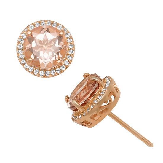 Simulated Pink Morganite 14K Rose Gold Over Silver Stud Earrings