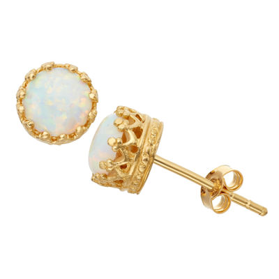 White Opal 14K Gold Over Silver 7mm Stud Earrings