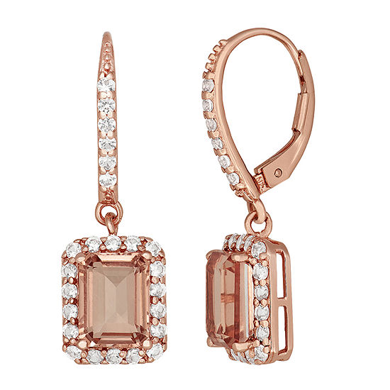 Simulated Pink Morganite 14K Rose Gold Over Silver Drop Earrings
