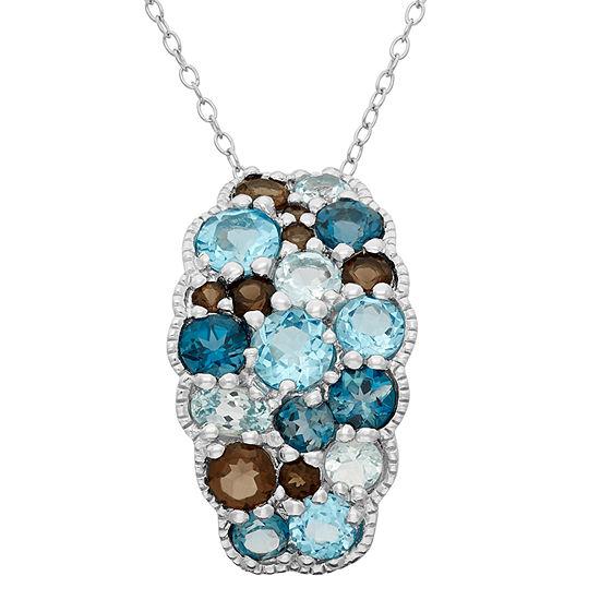 Womens Genuine Blue Topaz Sterling Silver Pendant Necklace