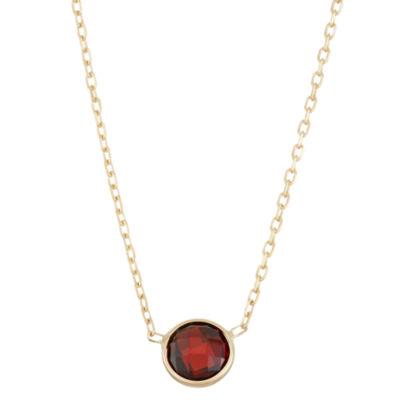 Womens Red Garnet 10K Gold Pendant Necklace