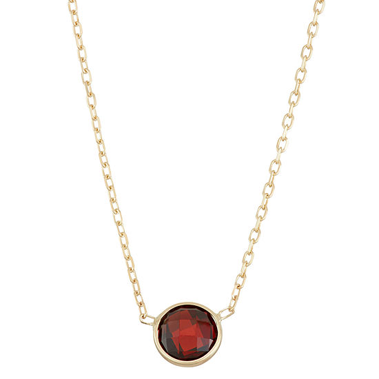 Womens Genuine Red Garnet 10K Gold Pendant Necklace