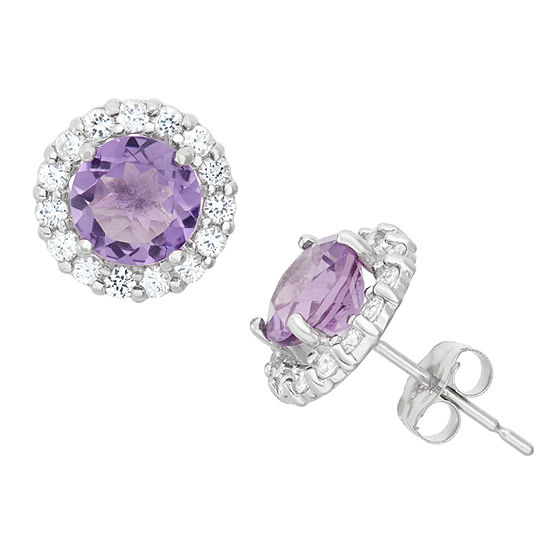 Genuine Purple Amethyst 10K White Gold 9mm Stud Earrings