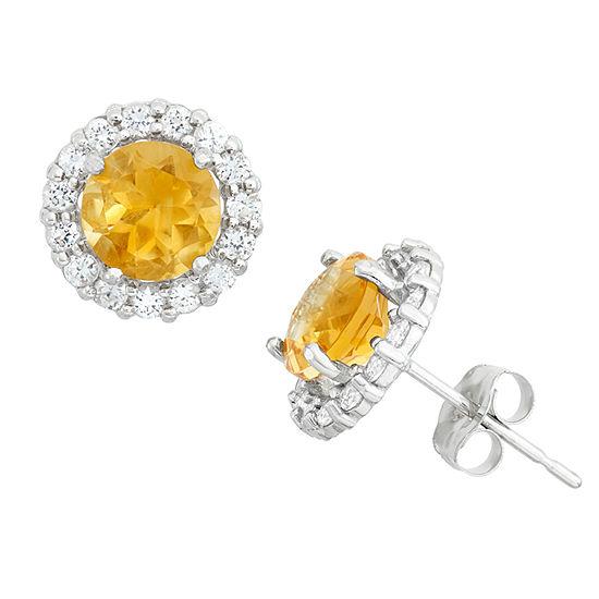 Genuine Yellow Citrine 10K White Gold 9mm Stud Earrings