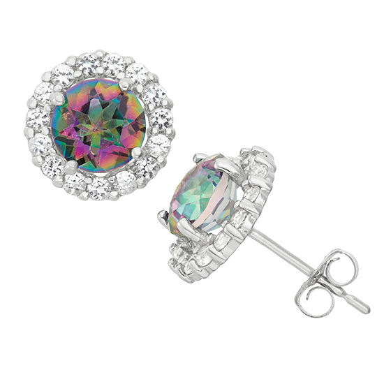 Genuine Mystic Fire Topaz 10K White Gold 9mm Round Stud Earrings