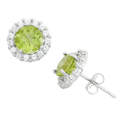 Green Peridot 10K White Gold 9mm Stud Earrings