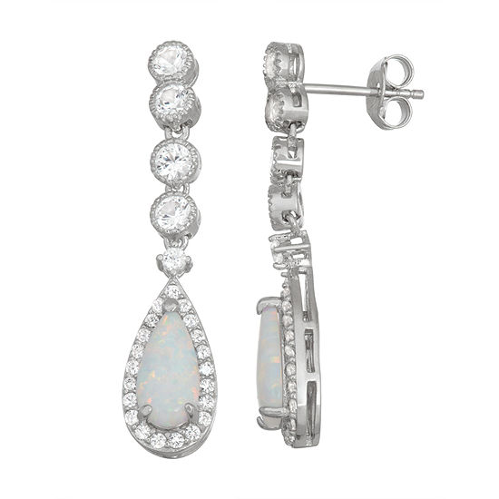 Lab Created White Opal Sterling Silver Pear Drop Earrings