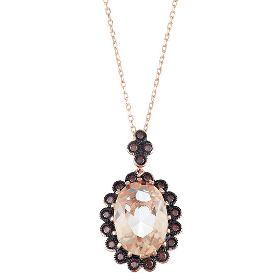 Womens Simulated Pink Morganite Sterling Silver Oval Pendant Necklace