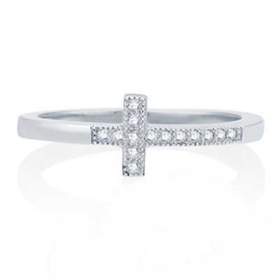Womens 1/10 CT. T.W. Genuine White Diamond 10K Gold Cross Cocktail Ring